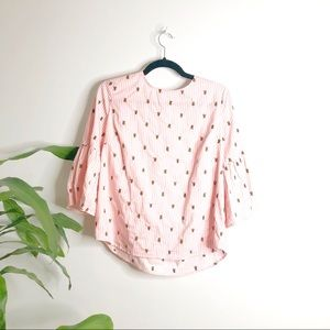 Jane & Delancey┃Pink Striped blouse bees embroider